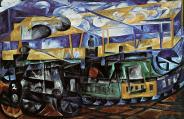 Natalia Goncharova, Airplane over a Train, 1913 Oil on canvas, 55 x 83-5 cm
