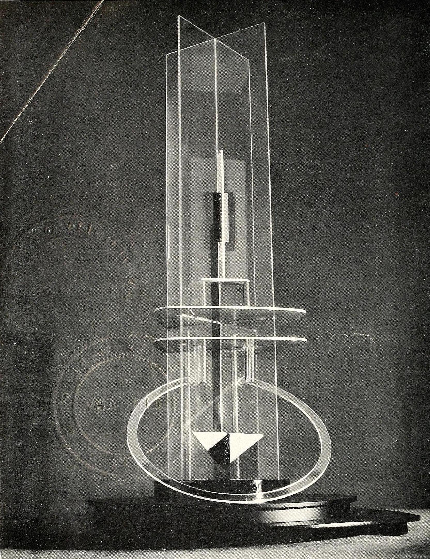 Naum Gabo, Column (1923), Glass, plastic, metal, wood, 41 inches high