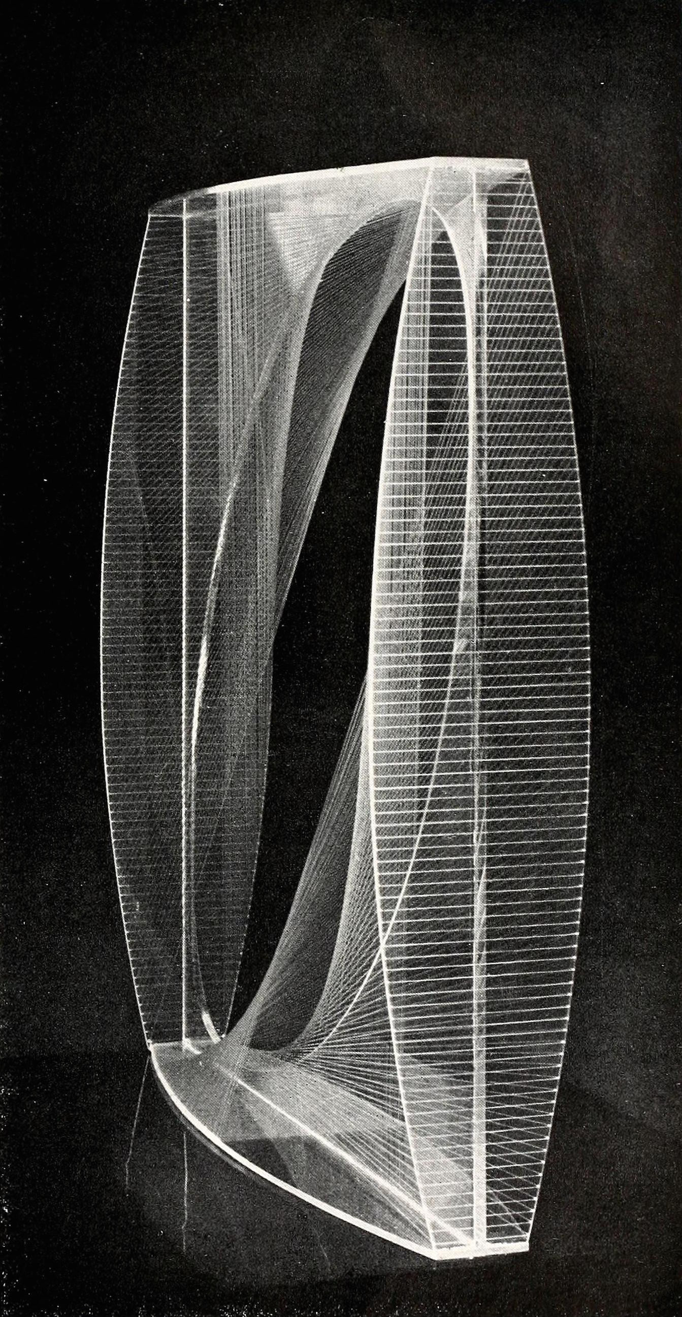 "Naum Gabo, linear construction, variation (1942-1943), Plastic, 18"" square"