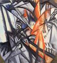 Olga Rozanova, Fire in the City (Cityscape). 1914 Oil on metal. 71x71 cm