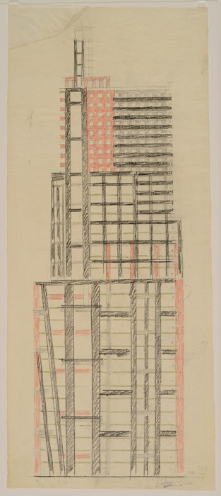 W. Krinski- Wolkenkratzer auf der Lubjanka, Versuchsprojekt Fassade 1922-1923
