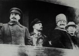 Bukharin between Stalin and Sergo Ordzhonikidze, atop the Lenin Mausoleum, October 1929, a month before he was expelled from the leadership