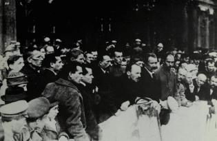 Bukharin speaking in Petrograd, 1920