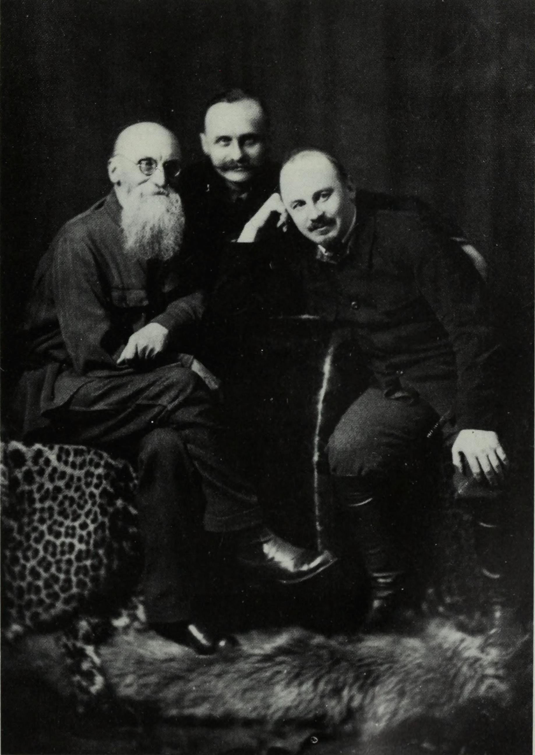 Bukharin with his brother Vladimir and father Ivan, mid-1920s