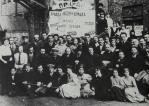 Tenth anniversary of the newspaper Pravda, 1922, Bukharin the chief editor sits center of second row to the right of Mariia Iliinichna (Lenin's sister)