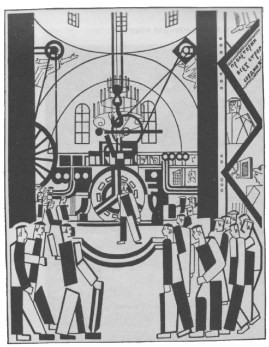 A TEMPLE OF THE MACHINE-WORSHIPPERS- A Byzantine . Dome. Instead of angels, figures of Communist agitators have been placed in the spandrels (Drawing by Krinski)