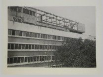 Gruntal, V.G. Partial view of the garden façade of the People's Commissariat for Finance (Narkomfin) Apartment Building showing the roof garden, 25 Novinskii Boulevard, Moscow, after 1930