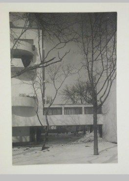Gruntal, V.G. Partial view of the lateral façade of the People's Commissariat for Finance (Narkomfin) Apartment Building showing the elevated walkway, 25 Novinskii Boulevard, Moscow, after 1930