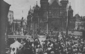 """MOSCOW- The """"Red Square"""" before the Historical Museum, decorated"""