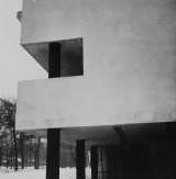 Robert Byron Narkomfin apartments Moscow, USSR Architects: Moisei Ginzburg and Ignatii Milinis (1928-1929) Type: A-negative Exterior view, side facade with pilotis, detail