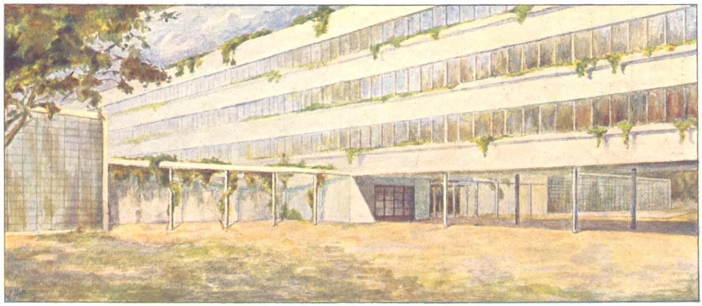 Nikolai Miliutin, watercolor painting from Sotsgorod (1930) of a communal house inspired by Ginzburg and Milinis' Narkomfin building then underway