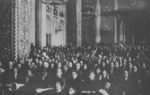 """THE """"CENTRAL EXECUTIVE OF ALL THE RUSSIAN PROLETARIAT"""" HOLDS A SESSION IN THE FORMER CORONATION ROOM OF THE MOSCOW KREMLIN."""