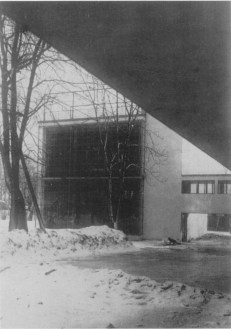 Winter view of the communal block with bridge, early 1930s