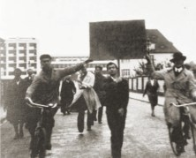 Bauhaus students protesting the dismissal of Hannes Meyer, 1930