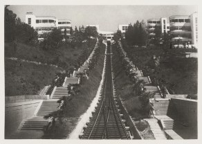 Meyer, Hannes Exterior view of funicular railway tracks flanked by flights of stairs leading to Voroshilov Sanatorium, Sochi, Soviet Union (now in Russia), 1930