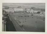 Meyer, Hannes View of Arbat Square with street car, cars, and people, Moscow, 1935