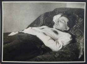 A photograph of Mayakovsky after he had apparently committed suicide by shooting himself in 1930