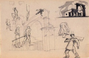 E. Norvert. Front Gates of a Hydroelectric Power Plant. Sketches. Early 1920s 1