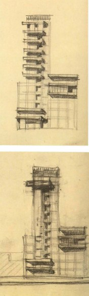 G. Barkhin. Izvestiya Newspaper Office and Printing Factory in Moscow. Sketch. 1925 c