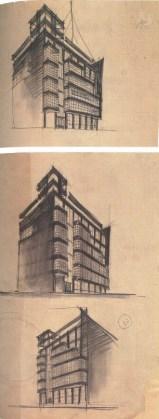 G. Barkhin. Izvestiya Newspaper Office and Printing Factory in Moscow. Sketches. 1925 b
