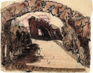 G. Gol'ts. N. Ladovsky's workshop Architectural and Spatial Design of the Entrance to the Nikitsky Boulevard in Moscow. Sketches. 1920-1921 a