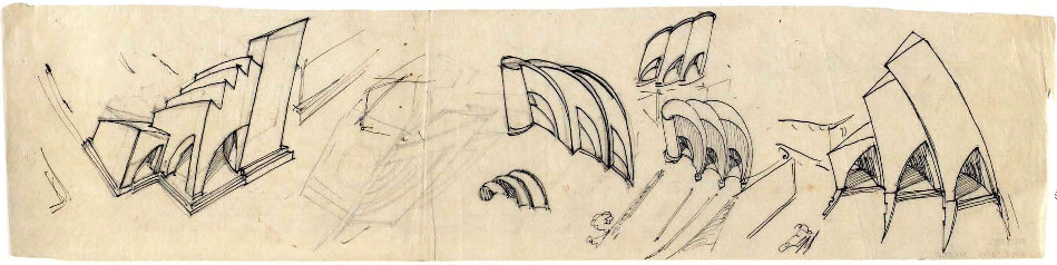 G. Gol'ts. N. Ladovsky's workshop Architectural and Spatial Design of the Entrance to the Nikitsky Boulevard in Moscow. Sketches. 1920-1921 d