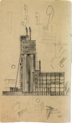 I. Sobolev. A. Vesnin's workshop. Bread Factory. Last course project. Sketches on both sides of the sheet. 1925 a