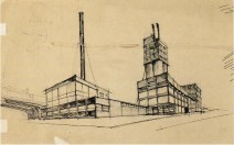 I. Sobolev. A. Vesnin's workshop. Bread Factory. Last course project. Sketches on both sides of the sheet. 1925