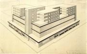 M. Zhirov. A. Vesnin's workshop «Shops-Bank-Hotels». 4th year. 1927