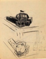 N. Kolpakova Summer Exhibition Pavilion for the Soviet Trade Mission in France. Exercise on Space. 2nd year. Sketches. 1928:1929