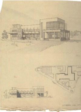 """S. Ostrovskaya. Supervisors V. Simbirtsev, A. Mashinsky, and V. Egorov. Hotel """"Intourist"""". 2nd year. 1932 a"""