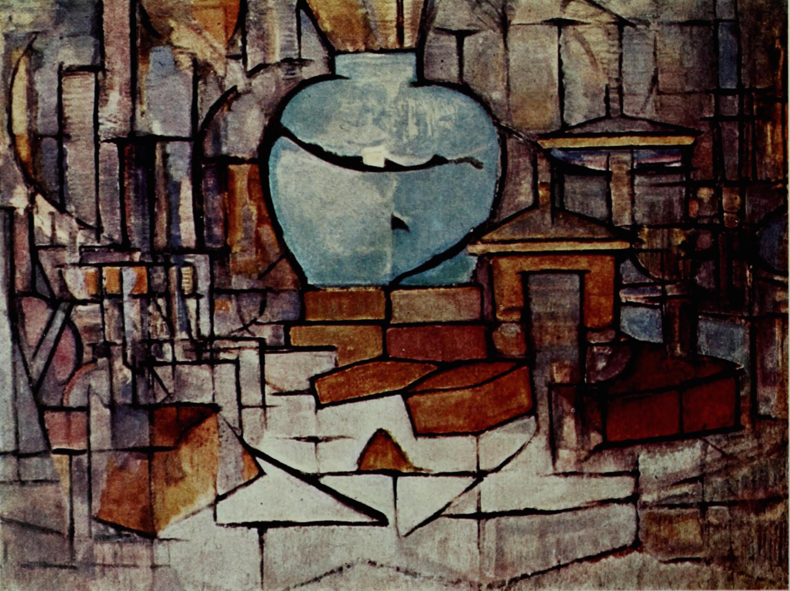 Still-life with Gingerpot I c. 1912, oil on canvas, 35 × 29 in (91 × 75 cm) Gemeentemuseum, The Hague