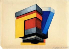 V. Kolpakova. G. Klutsis's workshop. Colour Solution for the Fagades of an Architectural Volume. 2nd year. 1928:1929