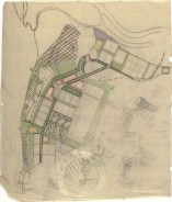 V. Kolpakova, N. Kolpakova. Consultant T. Varentsov. Layout for the City of Kotlas in the Northern Territory. Schematic map of existing conditions of the city. Zoning and layout options. Layout for a mikrorayon [micro-district]. Sketches. 1931 c