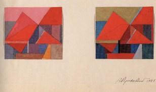 V. Krinsky. Podium. Experimental project. Color versions. 1921