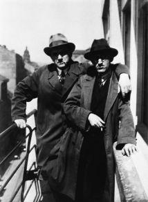 Vladimir Mayakovsky (left) and the Czech poet Josef Hora in Prague in 1926