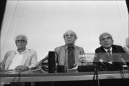 Joint press conference given by a PLO head and an Israeli army officer in Paris, France on July 20, 1982 - Israel's Gen. Matti Peled, Orientalist Maxime Rodinson, Issam Sartaoui, adviser to the PLO's Yasser Arafat (July 20, 1982) b