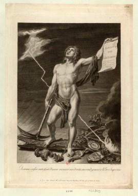 L'homme enfin satisfait d'avoir recouvré ses droits, en rend graces à l'Etre Suprème - [estampe] _ Pérée Sculp. l'an 3.e