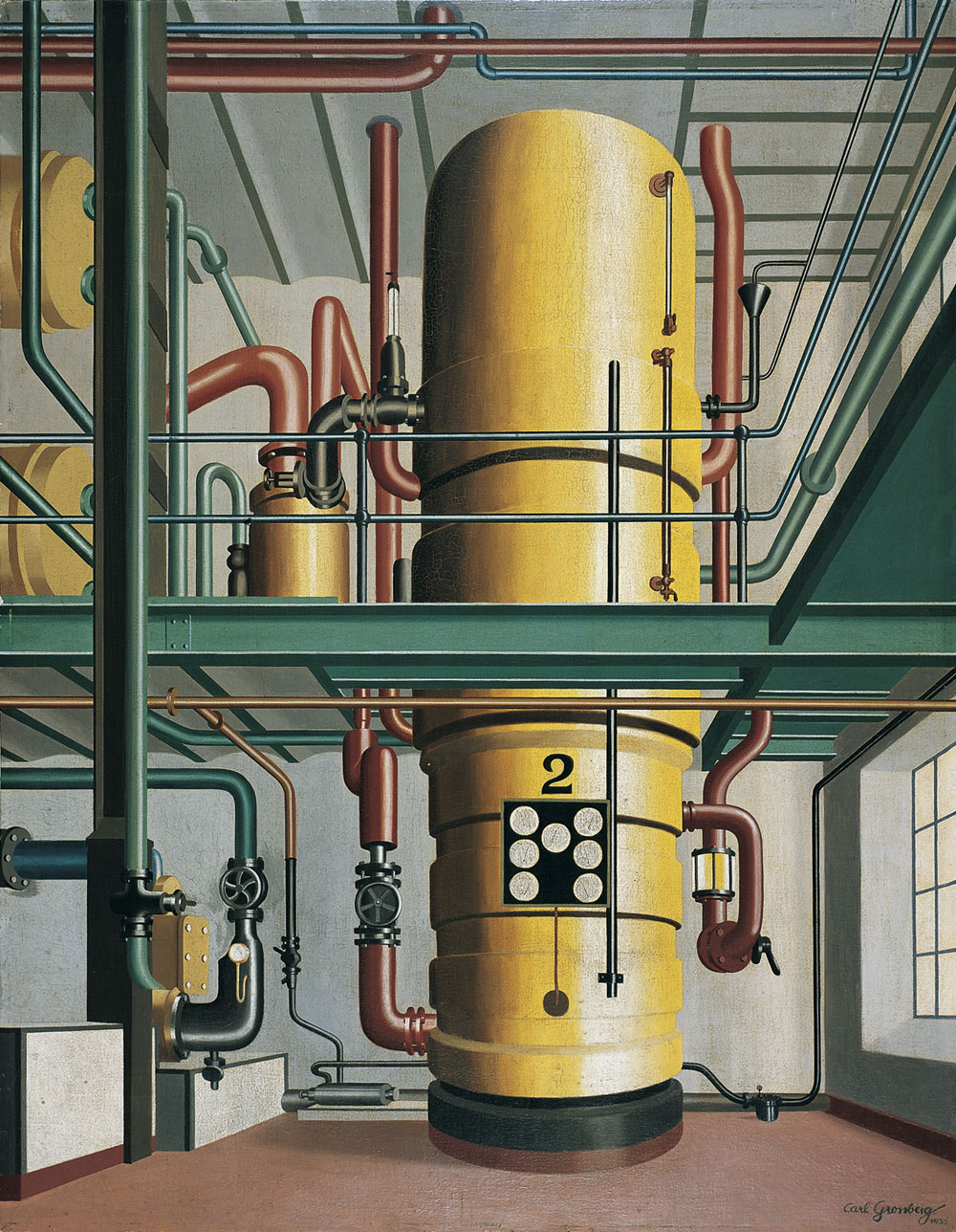 Carl Grossberg, The Yellow Boiler (Der Gelbe Kessel), 1933. Oil on wood. Von der Heydt-Museum Wuppertal, Germany