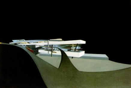 Hadid, Zaha Title Hong Kong Peak Date 1982-1983 Location Hong Kong, Hong Kong, China Description Approach by ramp from southwest; night view