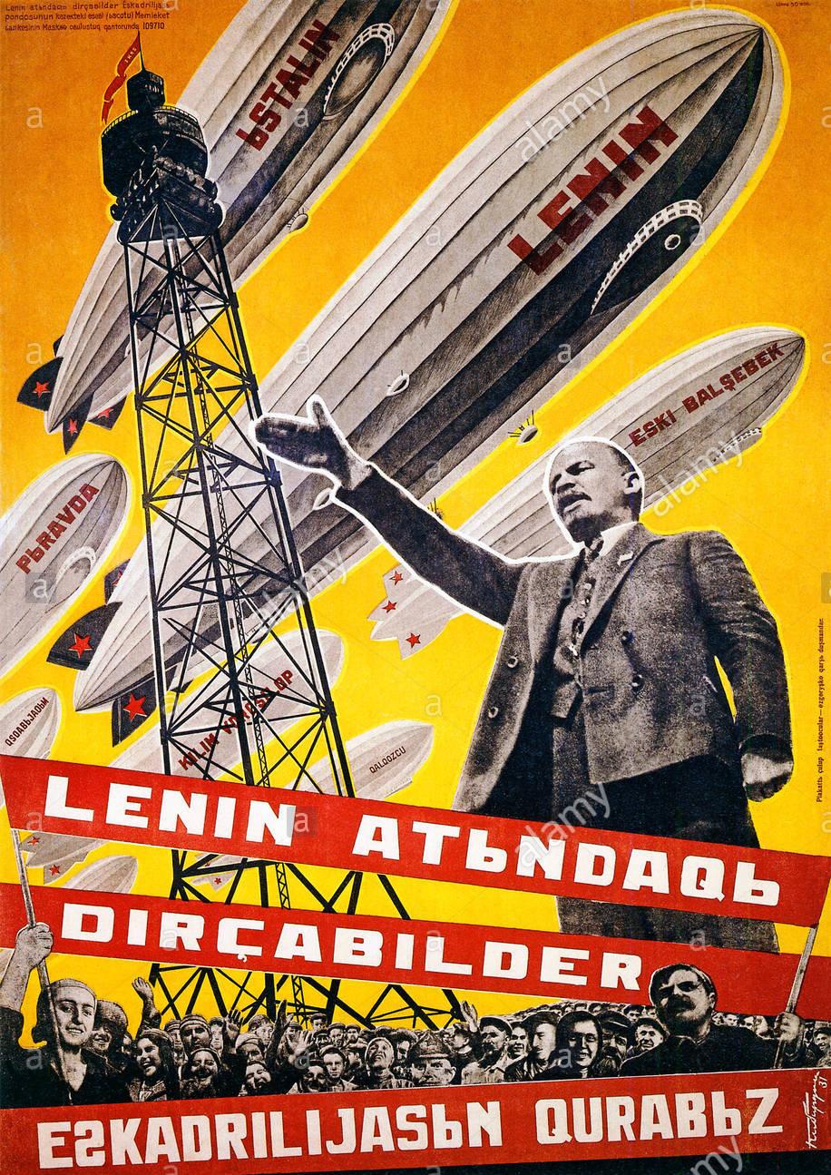 Lenin Ленин Leninelenin-airships-1931-russian-poster-we-are-building-a-fleet-of-airships-BN69PN