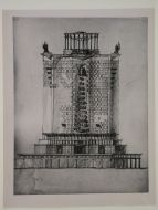 Photograph of an elevation for the principal façade for the editing block of the Izvestiia newspaper combine, Moscow