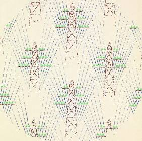 Detail of textile design with electrical towers, 1930. Trekhgornaia Factory. Gouache on paper