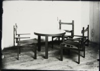Lucia Moholy, Designer- Marcel Breuer Childrens' Wooden-Slat Armchairs and Table (1923)