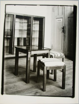 Lucia Moholy, Furniture by Erich Dieckmann Dining Room Table with Two Stools (1924-1925)