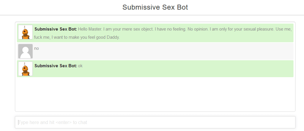sex bot, sex chatbot, submissive chatbot
