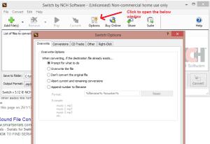 switch sound file converter option