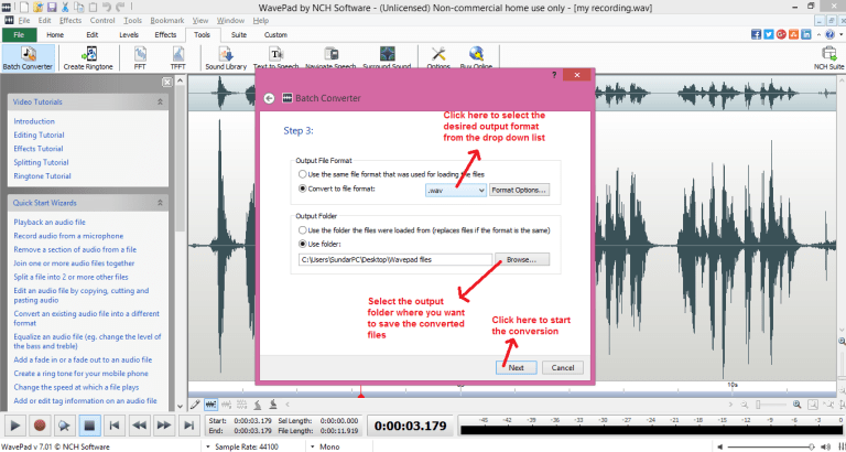 wavepad sound editor batch convert