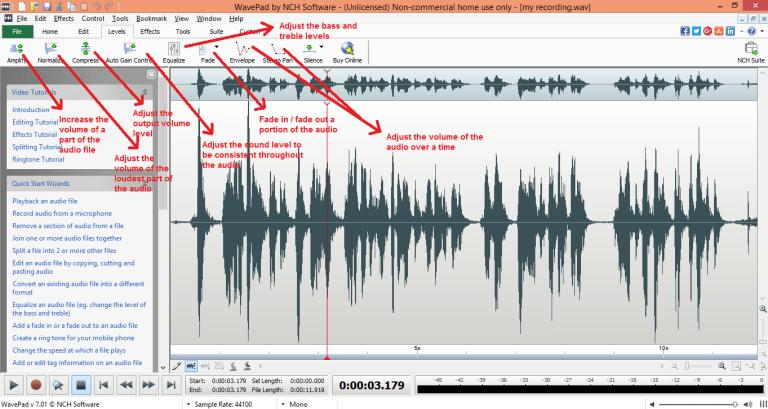wavepad sound editor levels tab
