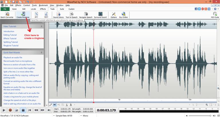 wavepad sound editor ringtone